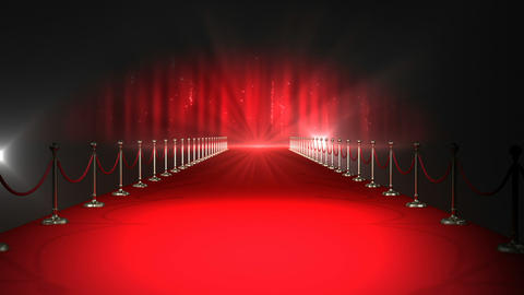 Red carpet with spotlights against red background Live Action