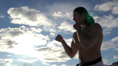 Taekwondo Man Practicing Hit Slow Motion Footage