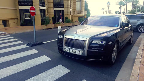 Luxury Rolls Royce Phantom Parked in Front of the Monte-Carlo Casino Footage