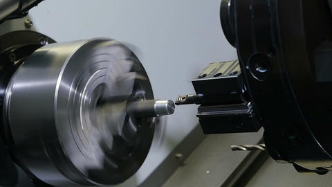 New Modern Lathe Operates with Workpiece Footage