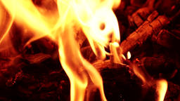 Hot fire burning, closeup slow mo Footage