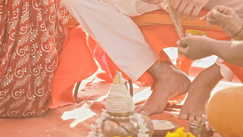Groom Repeats after Master Wedding Ritual Actions Filmmaterial
