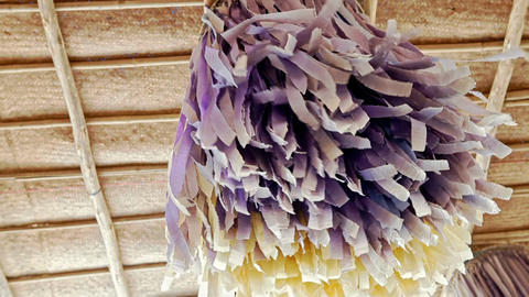 Wedding Canopy Decorated with Purple Tassels Footage