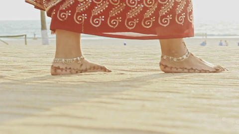 Macro Girl Feet in Long Walks Barefoot on White Sand Beach Footage