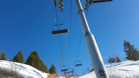 Ski Resort Empty Chair Lift Footage