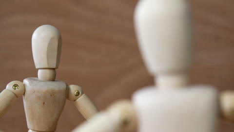 Romantic couple figurines standing face to face Live Action