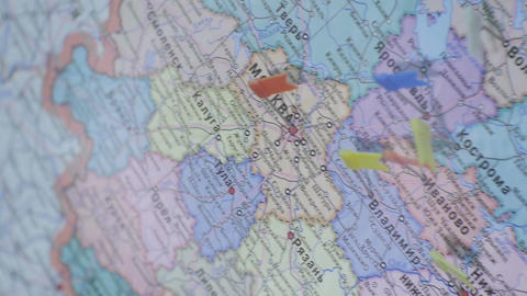 Closeup Russia Colorful Bright Map View with Point Flags Footage
