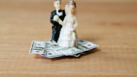 Miniature bridal couple kept on dollars Live Action