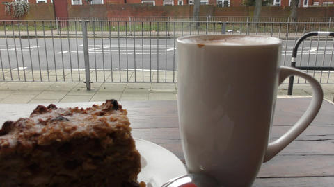 Coffee and a piece of cake Footage