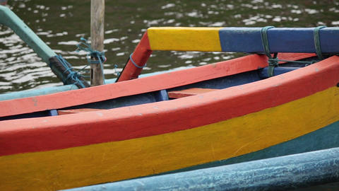 Colored boat on Bali Footage