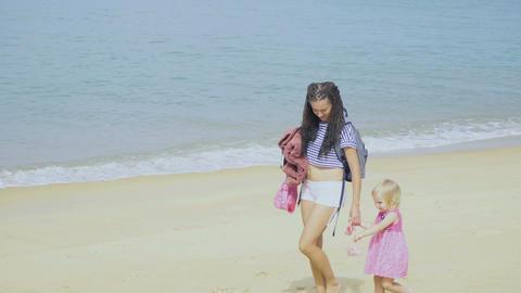 Walking on the beach for sunbathing Footage