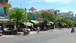 Vietnam Phú Mỹ district villages 027 typical street view with traffic Footage