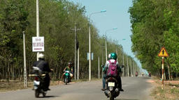 Vietnam Phú Mỹ district villages 051 street through caoutchouc forest Footage
