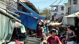 Vietnam Phú Mỹ district villages 063 chaotic market place Footage