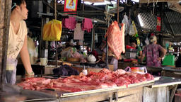 Vietnam Phú Mỹ district villages 067 butcher on weekly market Footage