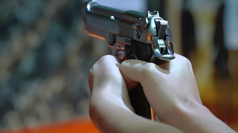 Handgun shooting at a shooting range Live Action