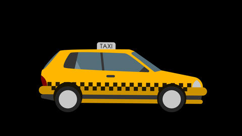 Animated Cartoon Taxi 4k loopable CG動画素材