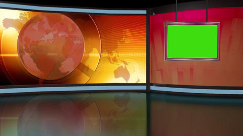 News TV Studio Set 262 - Virtual Green Screen Background Loop CG動画素材