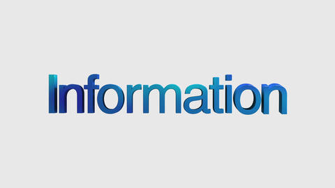 3D Text animation 'information' for topic introduction in Powerpoint presentatio Animation