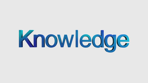 3D Text animation 'knowledge' for topic introduction in Powerpoint presentatio Animation