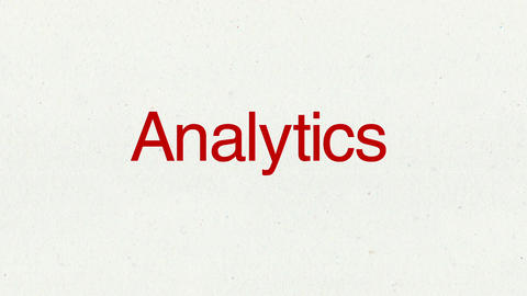 Text animation 'Analytics' for topic introduction in Powerpoint presentations Animation