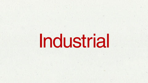 Text animation 'Industrial' for topic introduction in Powerpoint presentations Animation