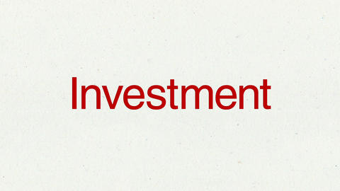 Text animation 'Investment' for topic introduction in Powerpoint presentations Animation