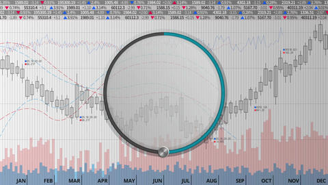 Indicate about 50 percents circle dial on various animated charts (no text) Animation