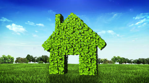 eco green house made from leaves on green field Animation