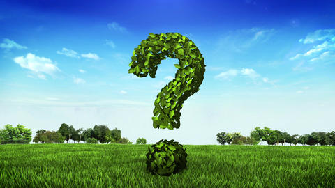 Green question mark made from leaves on green field Animation