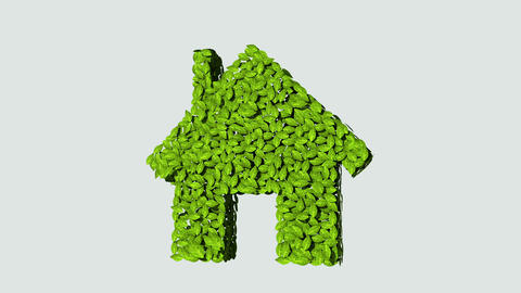 Businessman touching eco green house made from leaves Animation