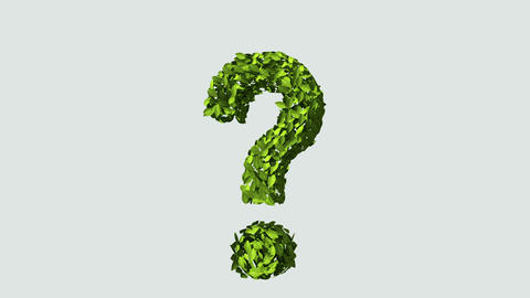Green question mark made from leaves Animation