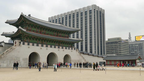Contrast Between Modernity And Old Building Gyeongbokgung Palace Seoul Korea Footage