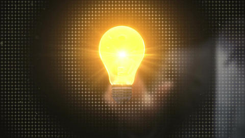 Businessman touching idea light bulb,creative communication technology concept Animation