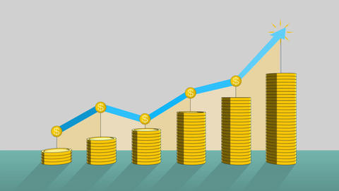 Pile up Golden coins expressed growth profits, and increase infographic box.1 Animation