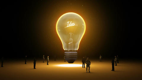 Typo 'Idea' in light bulb and surrounded businessmen, engineers, idea concep Animation