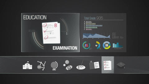 Examination icon for Education contents.Digital display application. Education i Animation