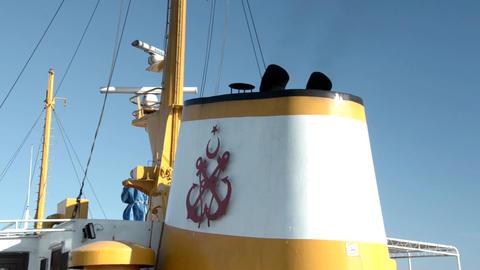 Chimney and mast of vintage diesel ship. Ship radar navigation system and chimne Footage