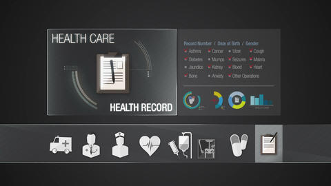 Health record icon for Health Care contents.Technology medical care service.Digi Animation