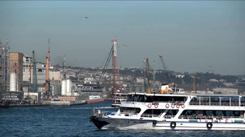 Passenger ships arriving at Eminonu port on a sunny Day in istanbul turkey Footage