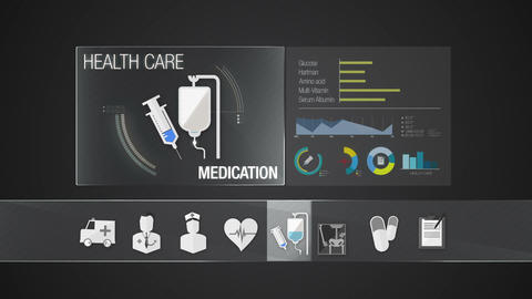Medication icon for Health Care contents.Technology medical care service.Digital Animation