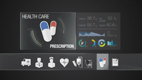 Prescription icon for Health Care contents.Technology medical care service.Digit Animation