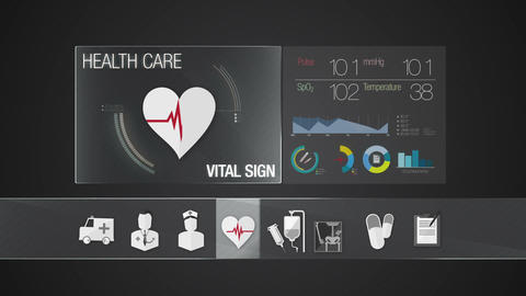 Vital Sign icon for Health Care contents.Technology medical care service.Digital Animation