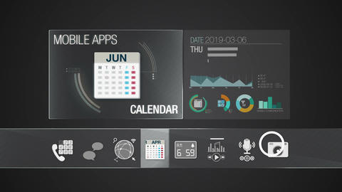 Calendar icon for mobile application contents.Various application function for s Animation