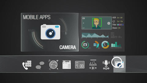 Camera icon for mobile application contents.Various application function for sma Animation