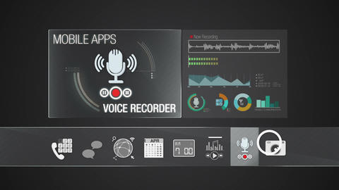Voice Recorder icon for mobile application contents.Various application function Animation