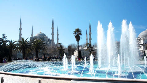Fantastic view of Blue Mosque (Sultan Ahmet) in Istanbul, Turkey Live Action