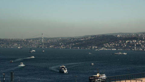 Time-lapse. Aerial view of Istanbul, Turkey harbor with ships going down the riv Footage