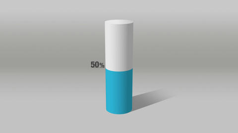 Indicate about 50 percents, growing 3D Cylinder circle bar chart Animation