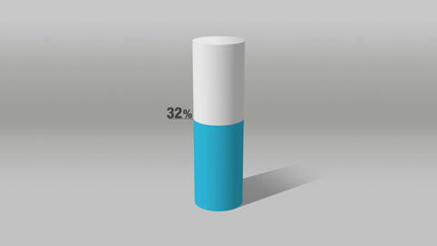 Indicate about 60 percents, growing 3D Cylinder circle bar chart Animation